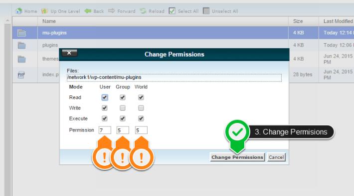 mu plugins folder change permisions