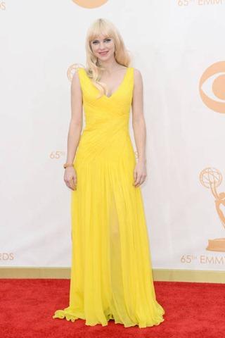 Monique Lhuillier, yellow, red carpet, Emmy