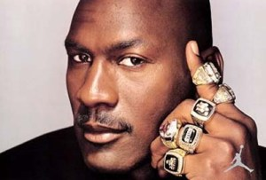MJ With His 6 Rings