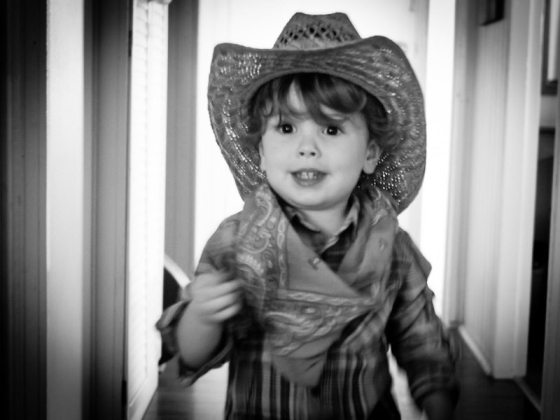 two year old toddler in a cowboy hat