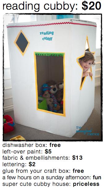 diy reading cubby house or quiet corner