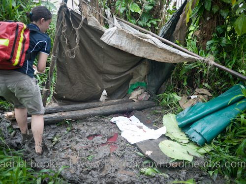 Where Bokoro gave birth under a tarp in the mud in her village in PNG.