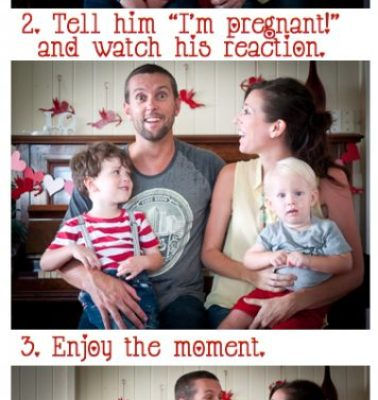 Surprise! Tell your husband about your pregnancy while in the middle of a self-timer camera sequence.