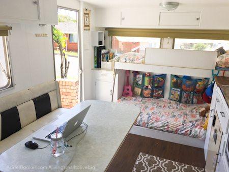 Adriel Booker - Living in a Caravan-Camper - kids area and dinette