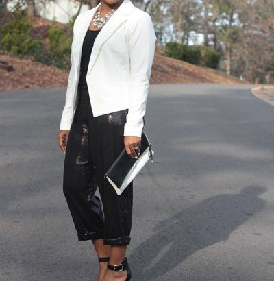 sequin pants and ivory jacket
