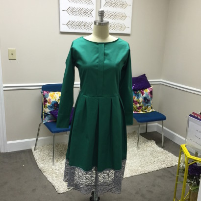 Green Dress with Lace Hem