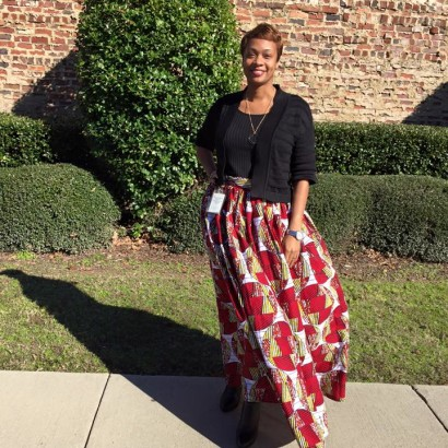 red african print skirt