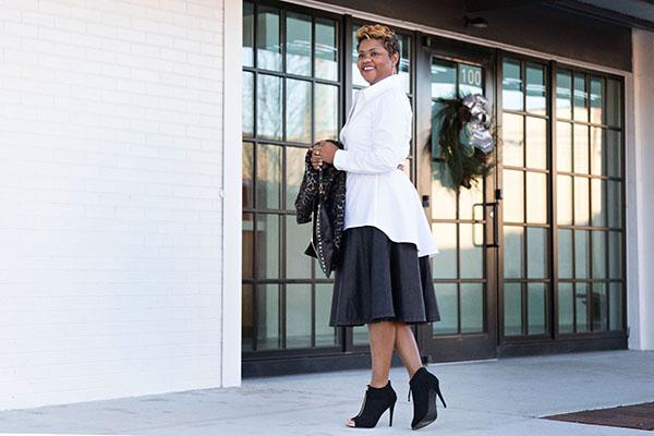 peplum shirt and leather skirt