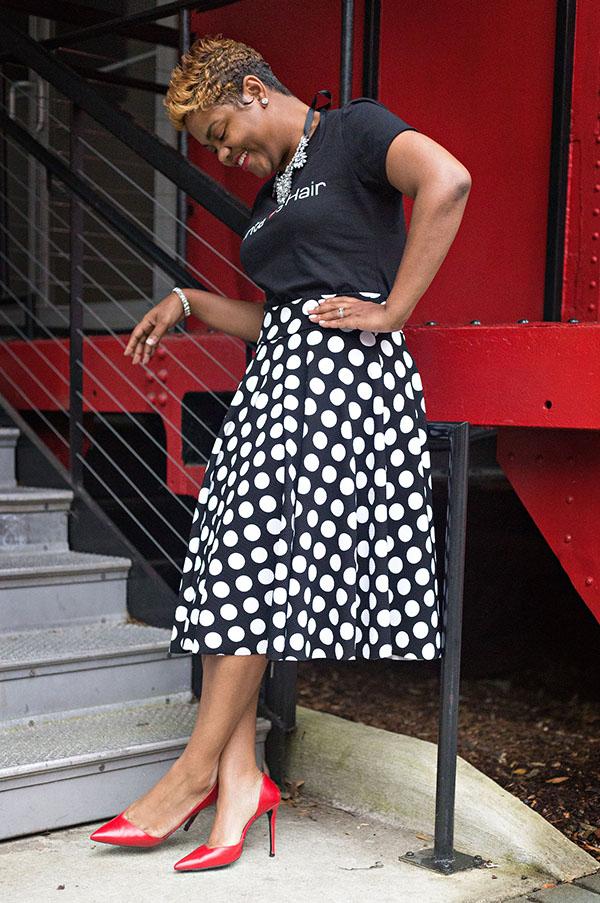 Polka Dot Skirt & Red Pumps