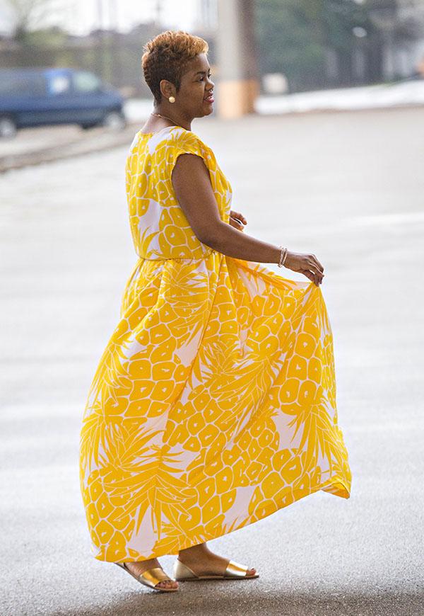 Yellow Maxi Dress + Gold Flats