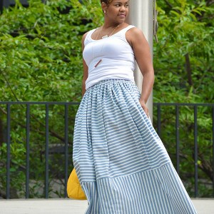 lightweight denim stripe maxi skirt