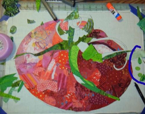 Ellen Lindner's tomato quilt in-progress. AdventureQuilter.com/blog