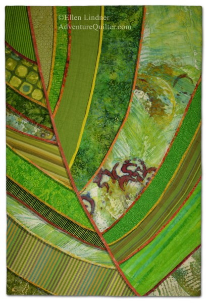 Florida Native #1, a fabric collage by Ellen Lindner. AdventureQuilter.com