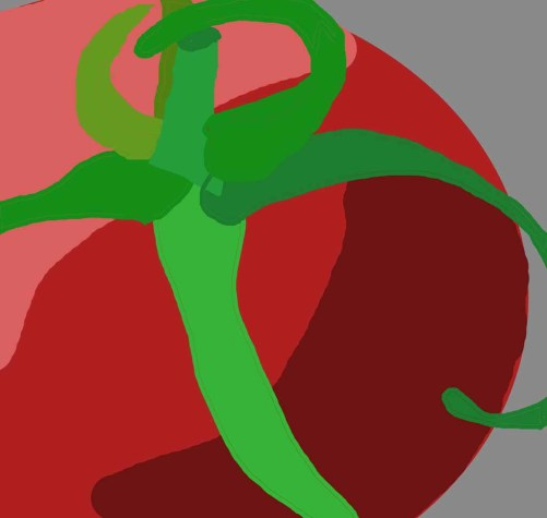 Abstracting a tomato. Ellen Lindner, AdventureQuilter.com/blog