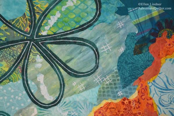 Brainstorm - detail, an art quilt by Ellen Lindner. AdventureQuilter.com