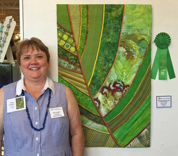 Ellen Lindner with her Award of Merit at 100% Pure Florida 2016 exhibit. AdventureQuilter.com/blog