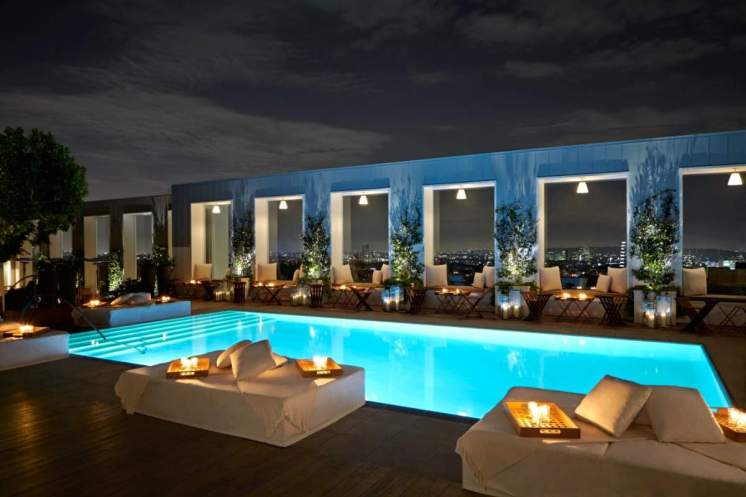 Skybar pool at night, photo courtesy of Mondrian Hotel