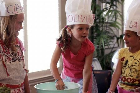 Olivia stirring and chatting