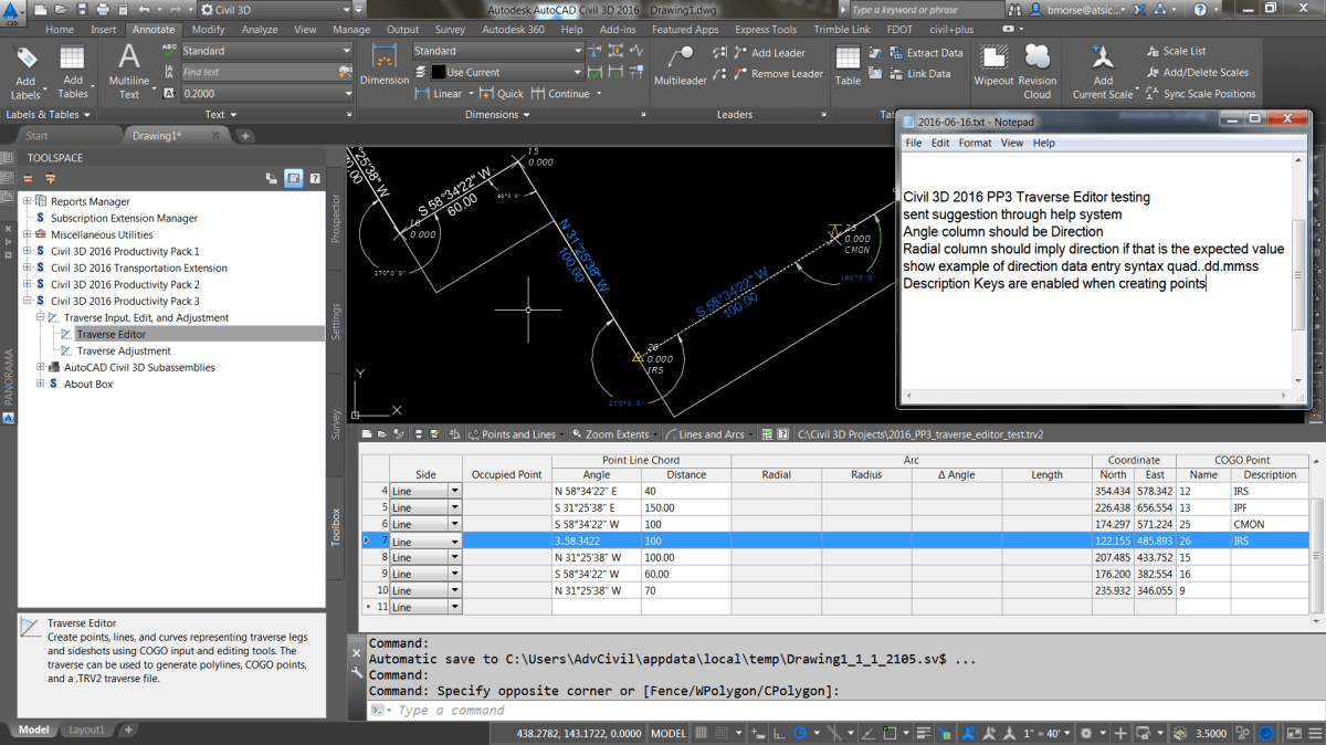 Traverse Editor in Civil 3D 2016 Productivity Pack 3