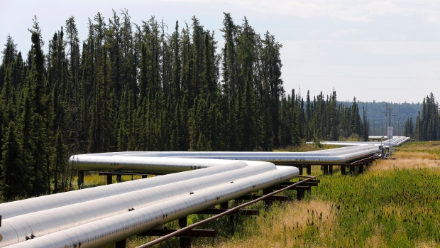 Pipeline through boreal forest 120 km south of Fort McMurray, Alberta