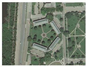 Aerial Photograph of Pentagon Barracks, Aero-Data Corporation, 2012