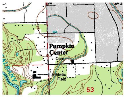 Topographic map of Pumpkin Center, Louisiana in Tangipahoa Parish