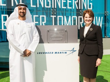 Pictured at the official commissioning of Lockheed Martin's new state-of-the-art chalet at the Dubai Air Show are: Marillyn A. Hewson, Chairman, President and Chief Executive Officer of Lockheed Martin Corporation and Homaid Al Shemmari, Chief Executive Officer, Aerospace & Engineering Services