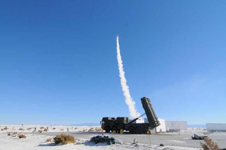 A Lockheed Martin MEADS, or medium extended air defense system, in action.