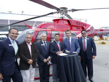 (Pictured from left to right: Sameer Rehman, Bell Helicopter's managing director of Asia Pacific; Rajendra Singh, managing director, Simrik Air; B.S. Singh Deo, Bell Helicopter's managing director of India; Capt. Rameshwar Thapa, Chairman of Simrik Air; Patrick Moulay, Bell Helicopter's vice president of Global Sales and Marketing and Shiram Ghatpande, Bell Helicopter's business development senior manager.) #thenewscompany  #aerobdnews