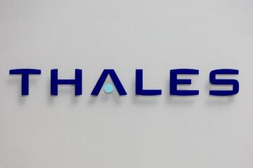 File photo shows logo of French defence and electronics group Thales at the company's headquarters in Neuilly
