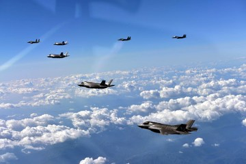 F-35Bs belonging to the U.S. Marine Corps fly in formation alongside South Korean and Japanese aircraft during a show-of-force mission over the Korean Peninsula on Aug. 28. (Photo by Republic of Korea Air Force)
