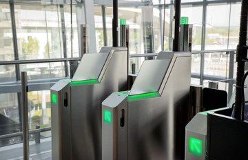 Heathrow Airport, Terminal 5A, airside, automated self-boarding gates, April 2017.