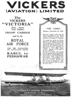 """El Vickers """"Victoria"""" empleado por la RAF para la evacuación de civiles de Kabul a Peshawar Flight, 3 de enero de 1929 (www.flightglobal.com)"""