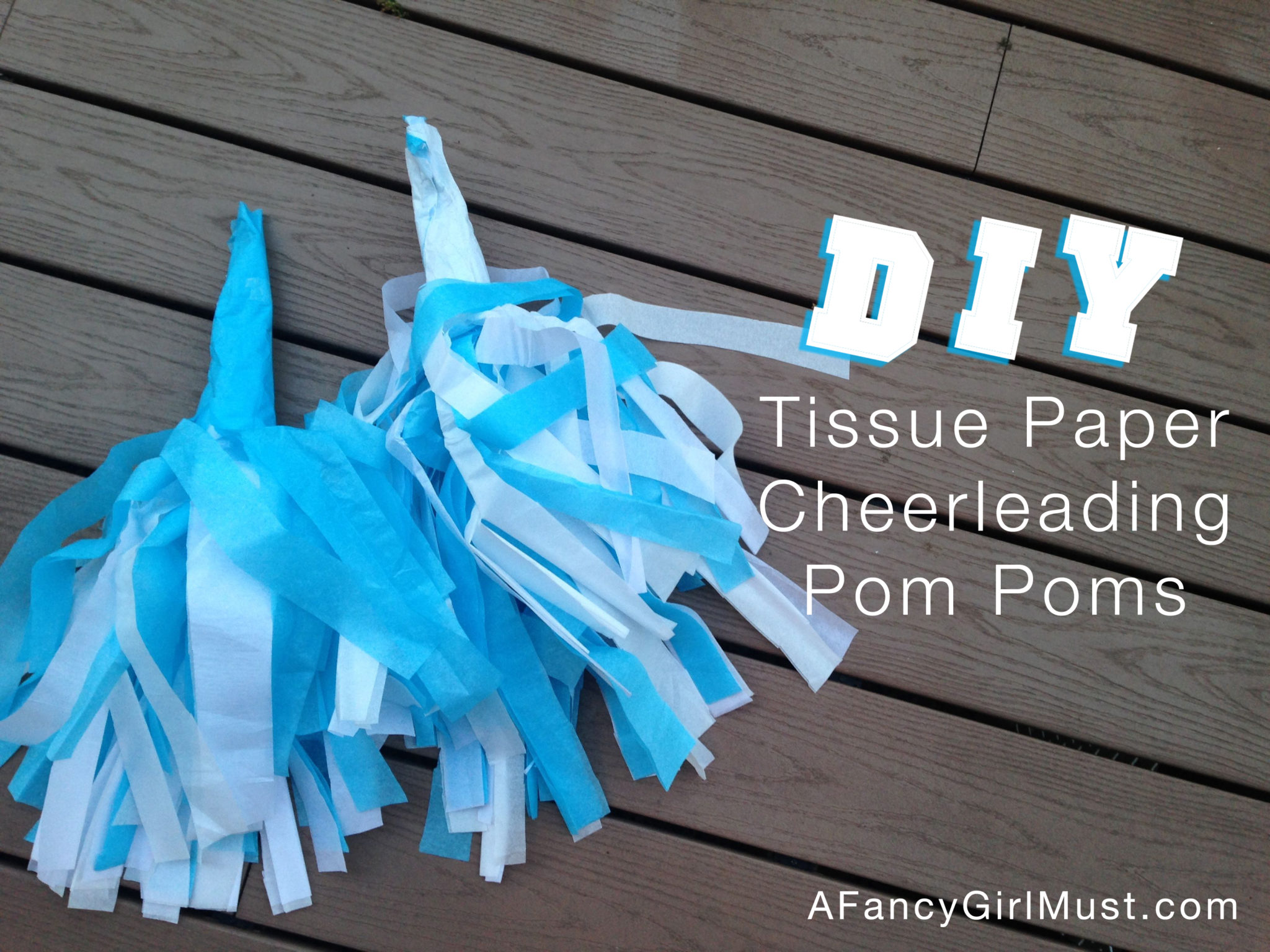diy tissue paper cheerleading pom poms a fancy girl must. Black Bedroom Furniture Sets. Home Design Ideas