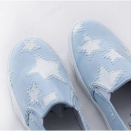 Star Print Denim Slip-Ons