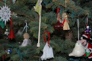 """Boo made the white """"bell"""" this year.  She was attempting to make a snowflake and then decided that it was actually a bell."""