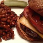 Honey Mustard Baked Beans with a Smoked Gouda-topped Buffalo Burger (Photo Credit: Adroit Ideals)
