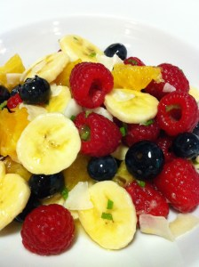 Minty Fruit Salad with assorted in-season fruits is a healthy side dish (Photo Credit: Adroit Ideals)