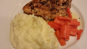Truffled Mashed Potatoes, Honeyed Carrots, and Roasted Bone-In Chicken Breasts with Herbes de Provence rub (Photo Credit: Adroit Ideals)