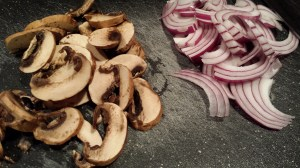 Slice some mushrooms and onion (Photo Credit: Adroit Ideals)