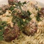 Easy Turkey Meatballs with Creamy Basil Pesto Linguine topped with Shredded Parmesan, Chopped Fresh Basil, and Toasted Pine Nuts (Photo Credit: Adroit Ideals)