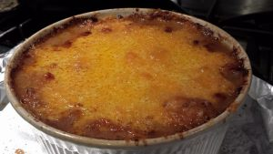 Beef Shepherd's Pie hot and bubbling from the oven (Photo Credit: Adroit Ideals)