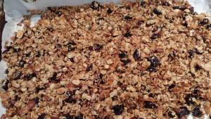 The baked granola is cooling (Photo Credit: Adroit Ideals)