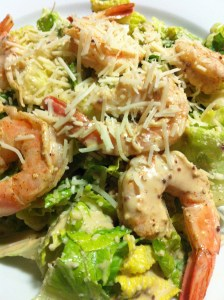 Caesar Salad with Chilled Cooked Shrimp and plenty of Shredded Parmesan (Photo Credit: Adroit Ideals)
