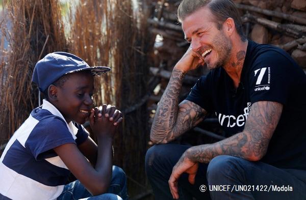 UNICEF Goodwill Ambassador David Beckham meets Sebenelle, 14, in Makhewu, Swaziland