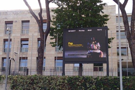 FAO本部。今年のテーマが電光掲示板にうつされている