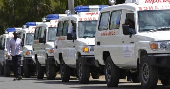 Photo caption: Some of the 15 ambulances donated by WHO to six counties to  support reproductive, maternal, newborn, child and adolescent health (RMNCAH) in Migori, Wajir, Mandera, Marsabit, Isiolo and Lamu.