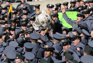 Army Cadets toss around a likeness of Navy masscot Bill the goat  before the start of the game. (Alan Lessig/Staff)