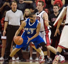 UNLV guard Kendall Wallace guards Air Force's Avery Merriex in the first half of Runnin' Rebels 60-50 win over the Falcons at the Thomas & Mack Center in Las Vegas Tuesday, Jan. 26, 2010. (AP Photo/Las Vegas Review-Journal, K.M. Cannon)