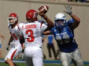 Air Force defensive end Ben Garland, right, had 10.5 tackles for loss and 4.5 sacks last season. (Air Force photo)